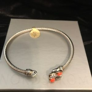 Silver Buckle Bracelet w/ Coral Stones